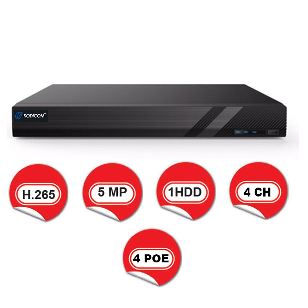 Kodicom KD-3004H1-4P-C / 4 Kanal 4 PoE 5 Megapiksel NVR Kayıt Cihazı