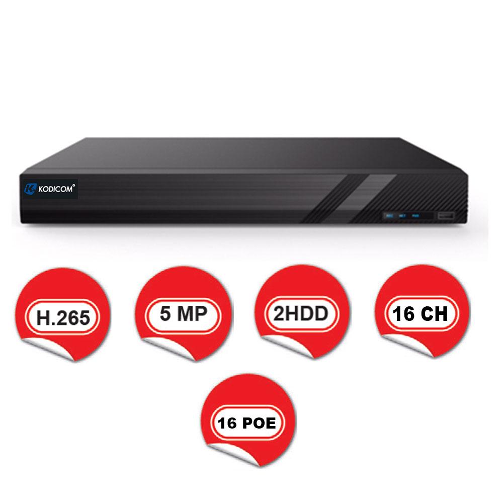 Kodicom KD-3016H2-16P-C / 16 Kanal 16 PoE 5 Megapiksel NVR Kayıt Cihazı